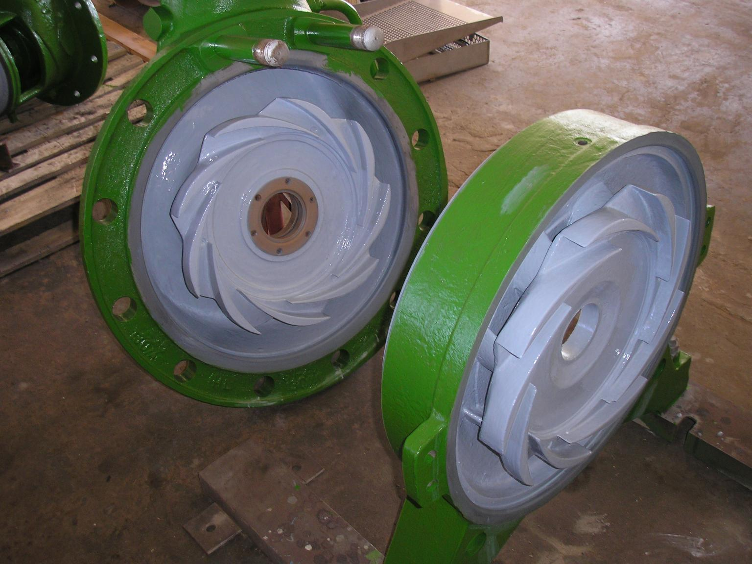 Pumps that have been repaired and coated
