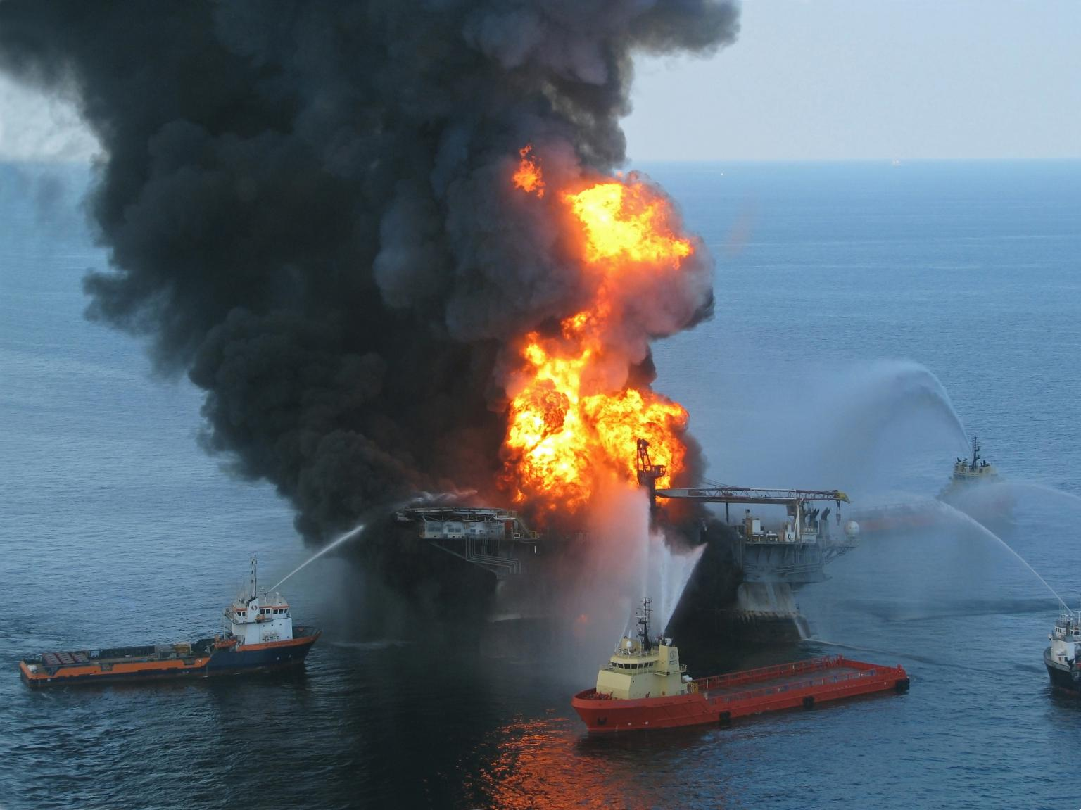 Platform support vessels fight the fire on what remains of the Deepwater Horizon rig