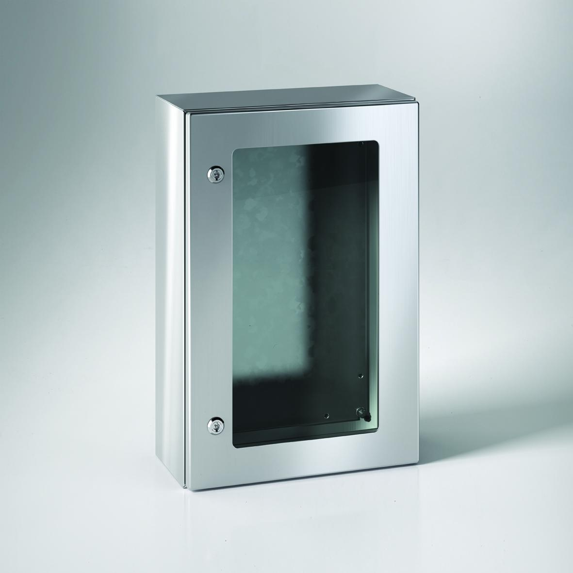 The enclosure doors benefit from reversible hinging, for flexible operation, and offer secure locking mechanisms with transparent window pane options available
