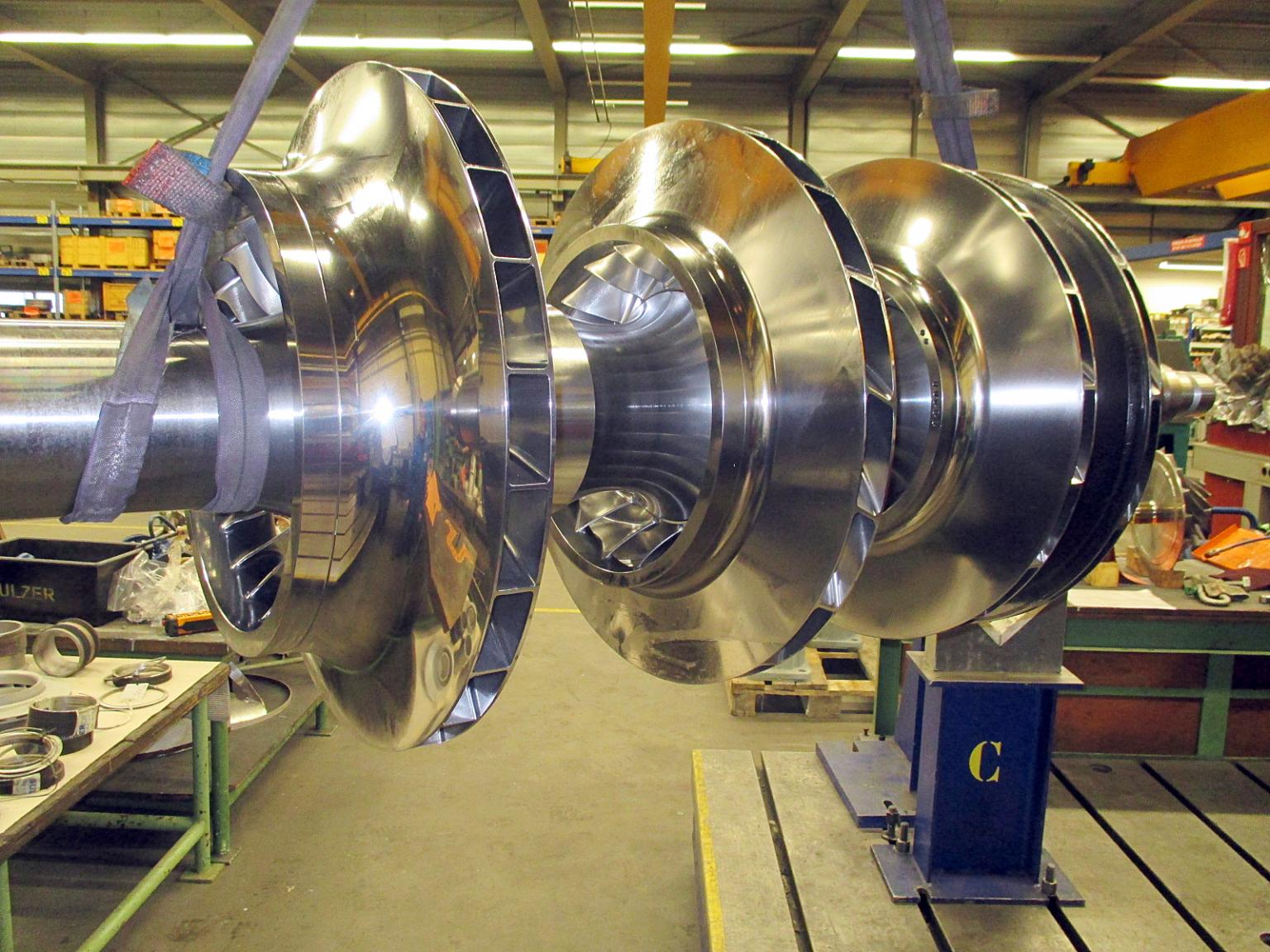 Each impeller was spin tested before being mounted onto the new rotor shaft to ensure the integrity of the impeller construction when operating under load