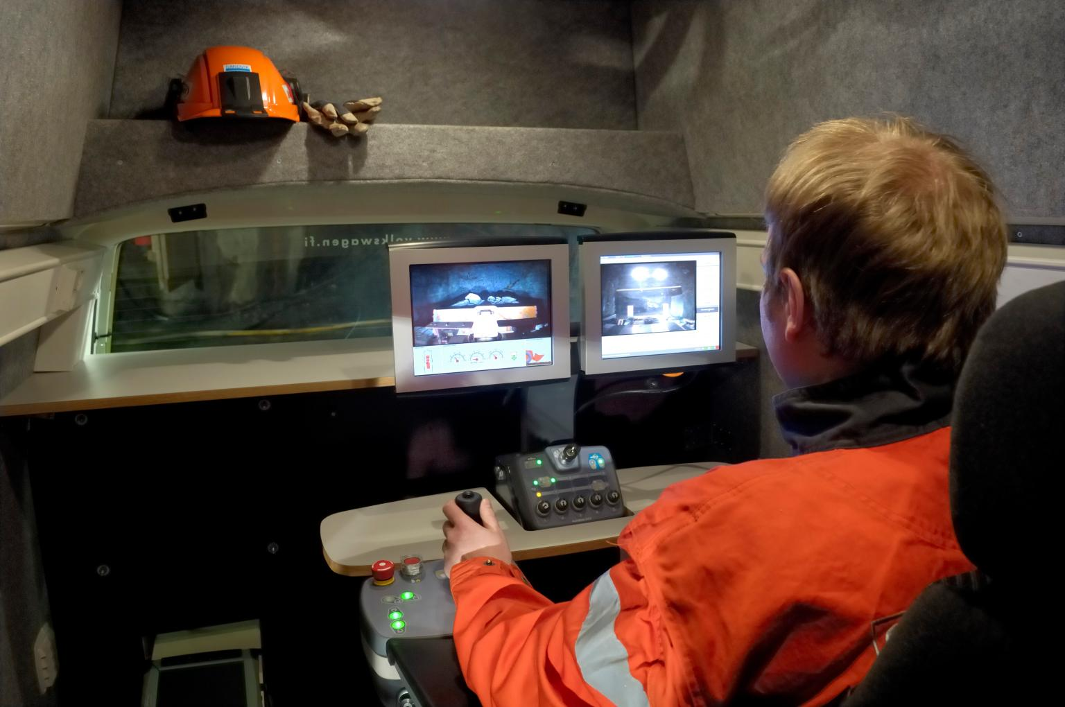 The ergonomic operating station of Sandvik's AutoMine Lite for remote automated loading