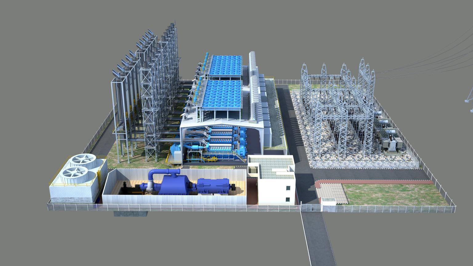 Modular development: this configuration features five gensets along with combined-cycle steam turbines