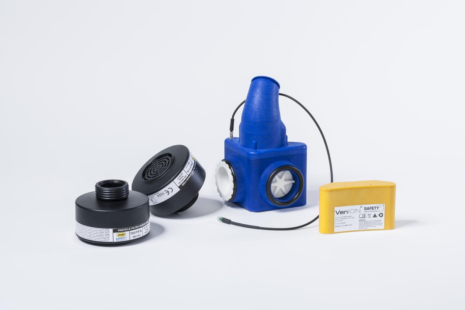 The VenION breathing air blower with filter and battery. It contains a Maxon EC 22 motor. Image: TB Safety