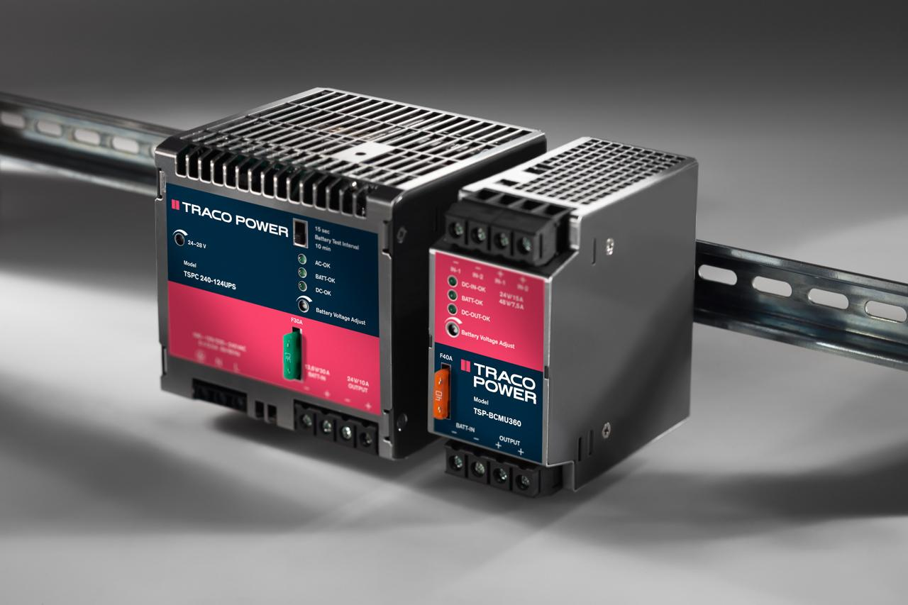 The TSPC 240-124UPS is a  240 Watt 24 VDC power supply with integrated battery management module. The TSP-BCMU360 is a 360 Watt universal battery controller module for any 24 VDC and 48 VDC source (no signal link required). Redundant input for two DC sources