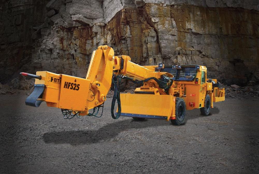 The Thiessen Team of the US and Canada, including BTI Rockbreaking Systems, offer a vibratory pick scaling (VPS) head mounted on a telescopic boom, and a hammer feed scaler (HFS)