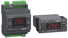 The Modicon M171 optimised controller family includes both DIN rail-mounted versions with integrated or remote display and flush-mounted units for mounting on doors