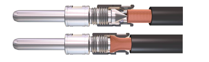 The AxiClamp cable connection system: as safe and reliable as a crimp connection. The cable can also be released, which means that the AxiClamp connection elements can be reused when cables are replaced