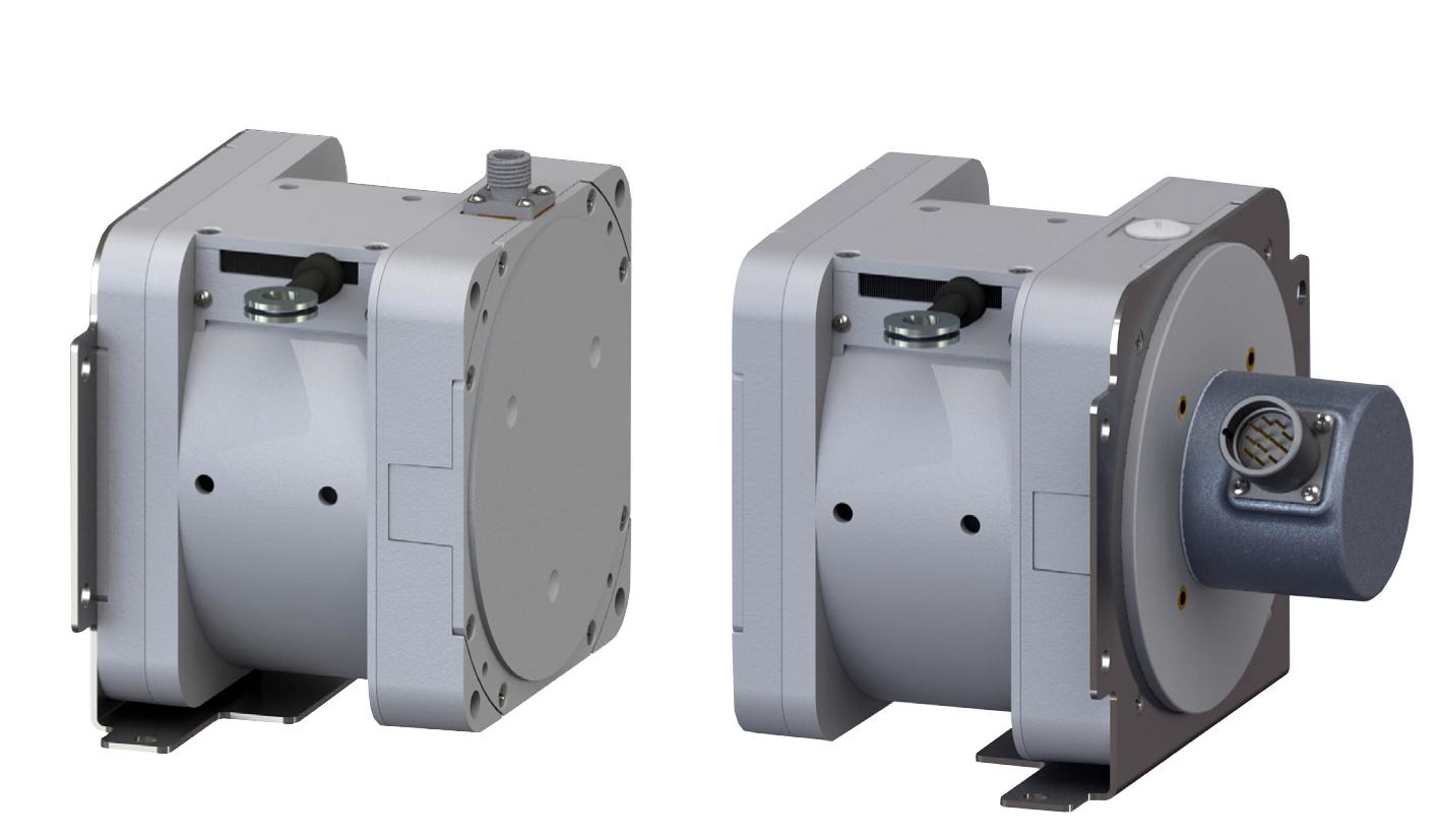 Celesco SK series showing potentiometric sensor (left) and 58 mm synchro-flange encoder options - and reversible mounting plate – available from Variohm EuroSensor