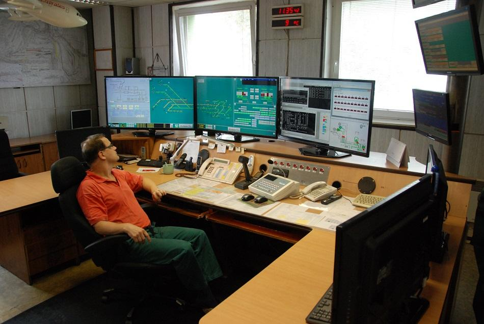 The mining process and conveyor belts transporting coal to the collection site are monitored from the control room