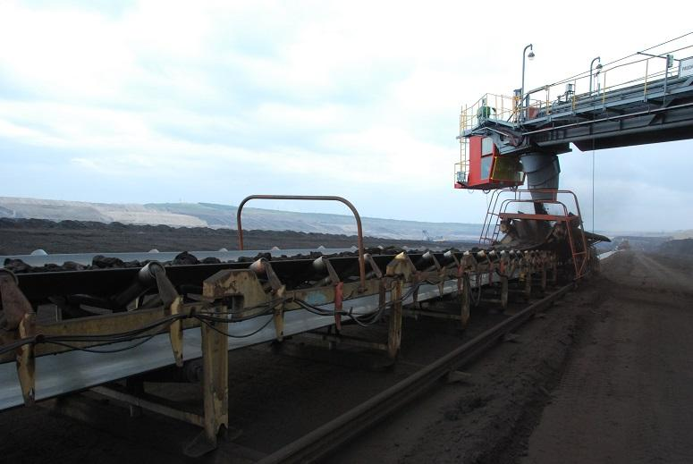 Conveyor belts stretching out over many kilometres transports coal to a central collection point.
