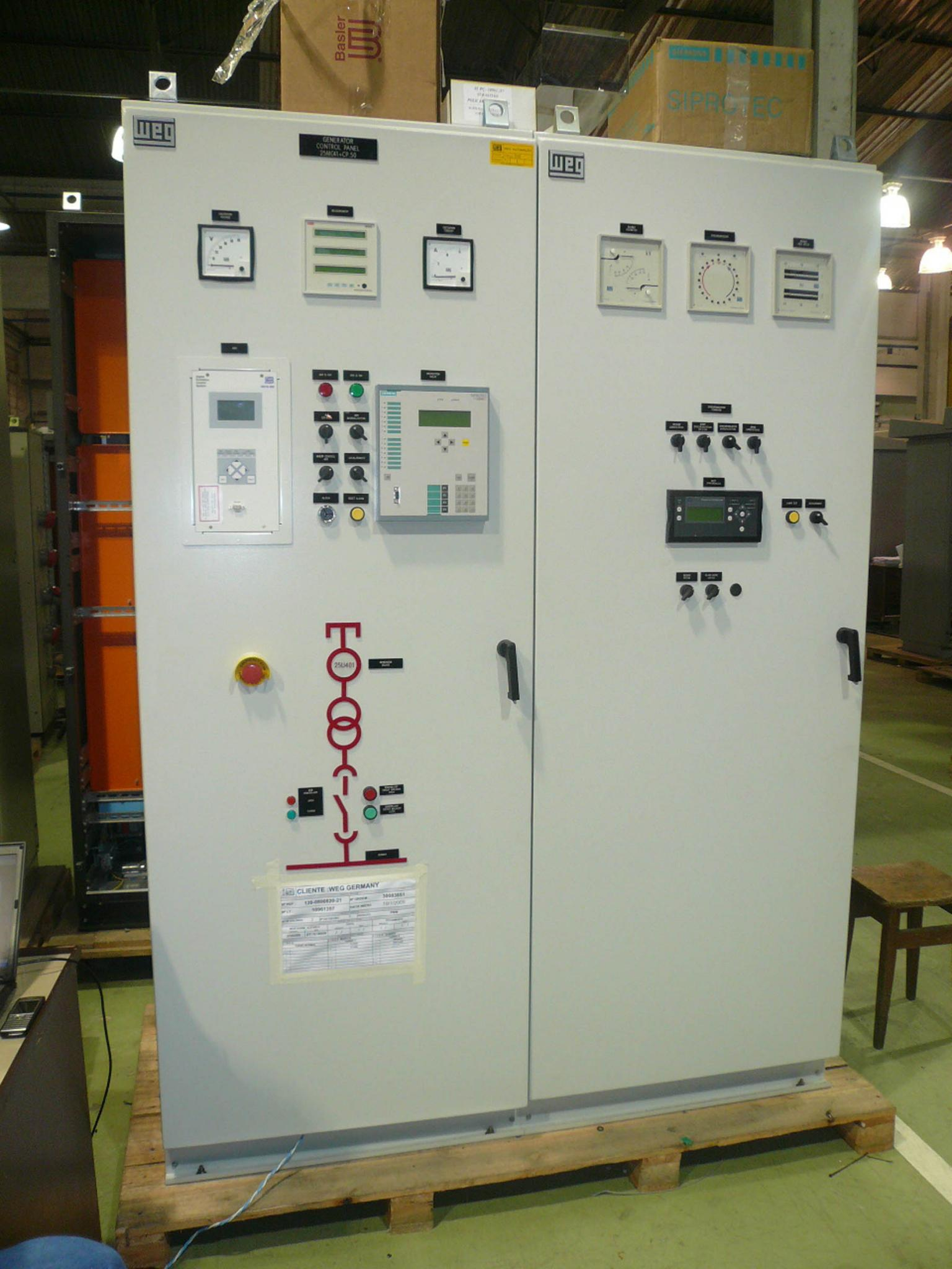 All the synchronisation, instrumentation and protection devices are housed in a single cabinet (seen here at the factory before delivery). WEG designed the generator system as a self-contained package. Source: WEG