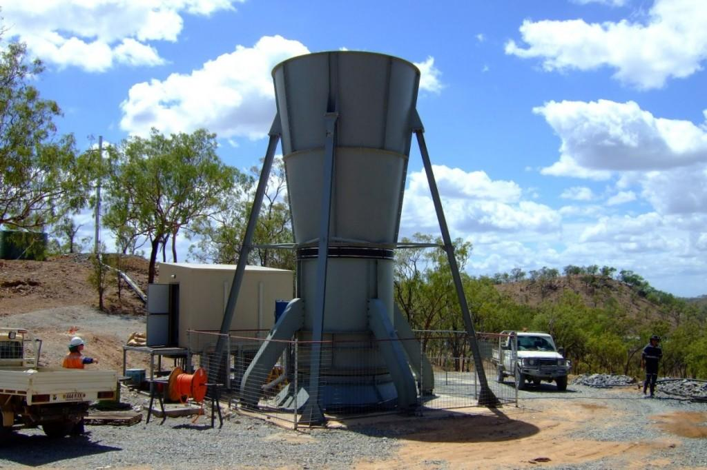 A single axial flow fan installed at a dedicated ventilation shaft by Australia's Zitron agent, Downunder Mining