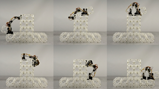 Assembler robot at work. (Image: Benjamin Jenett)