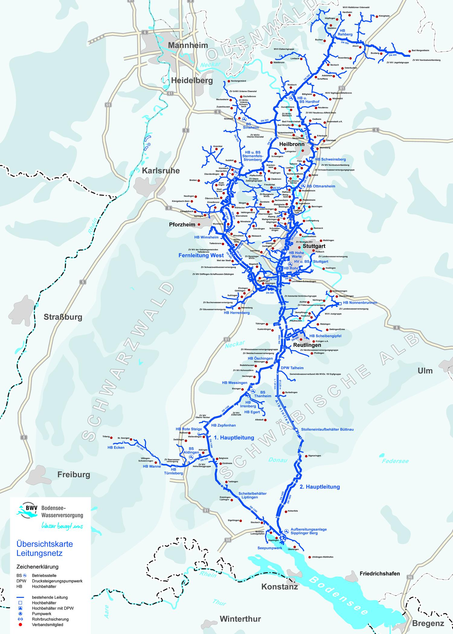 Pipeline network for supplying water from Lake Constance. Source: Lake Constance Water Supply Association