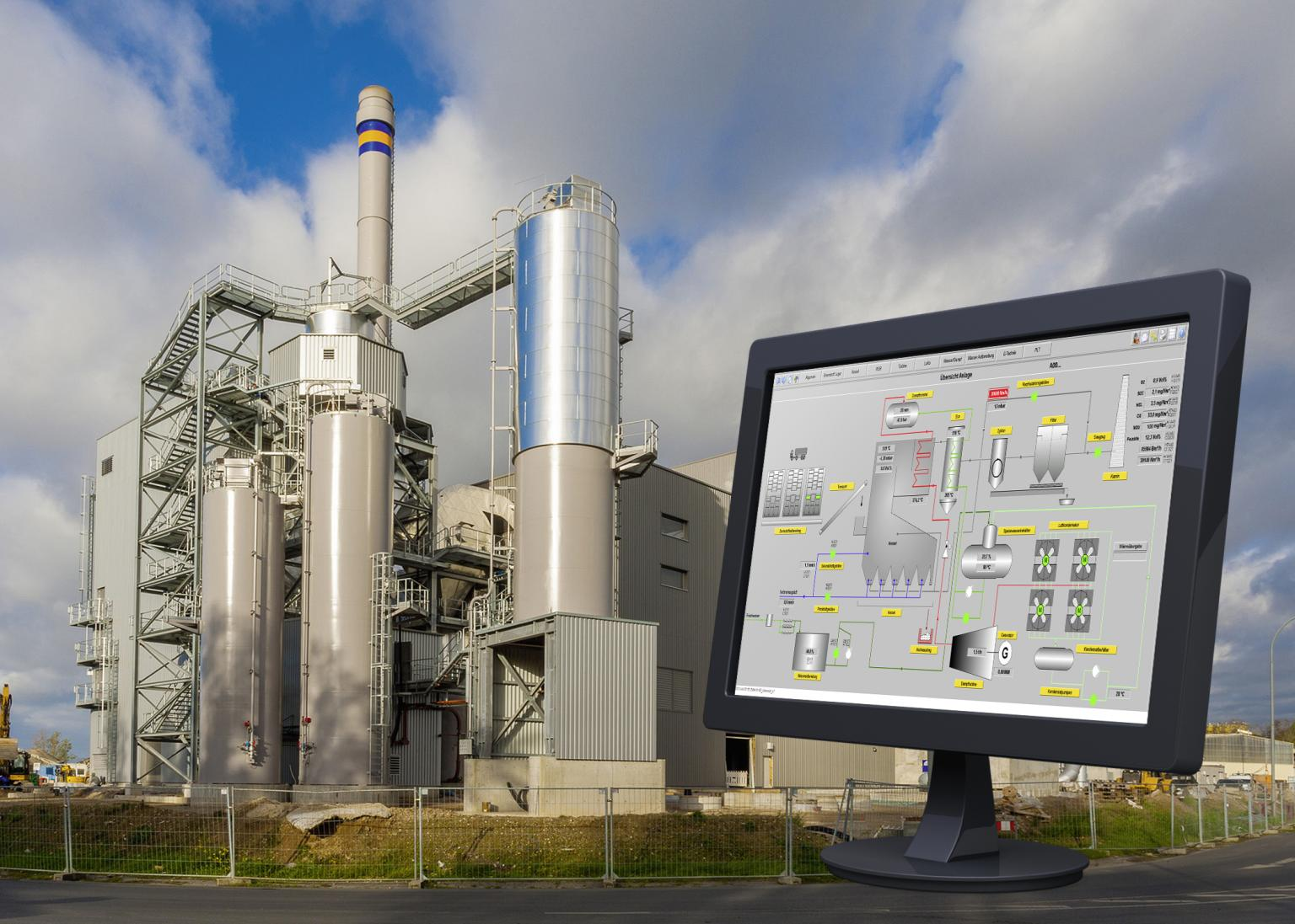The combined heat and power station is monitored via the PMSXpro process control system from ME-Automation Projects. Source: ESWE BioEnergie GmbH, Mitsubishi Electric Europe B.V., ME-Automation Projects