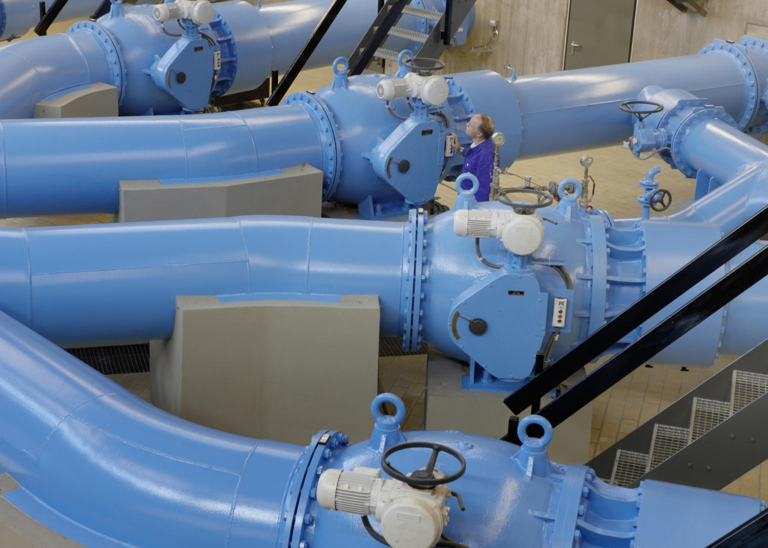 Drinking water distribution pipes in Büttnau. Source: Lake Constance Water Supply Association