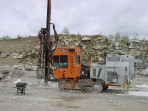 Yankee Drill's Tamrock CHA 1100 rig with the Sandvik60s mounted