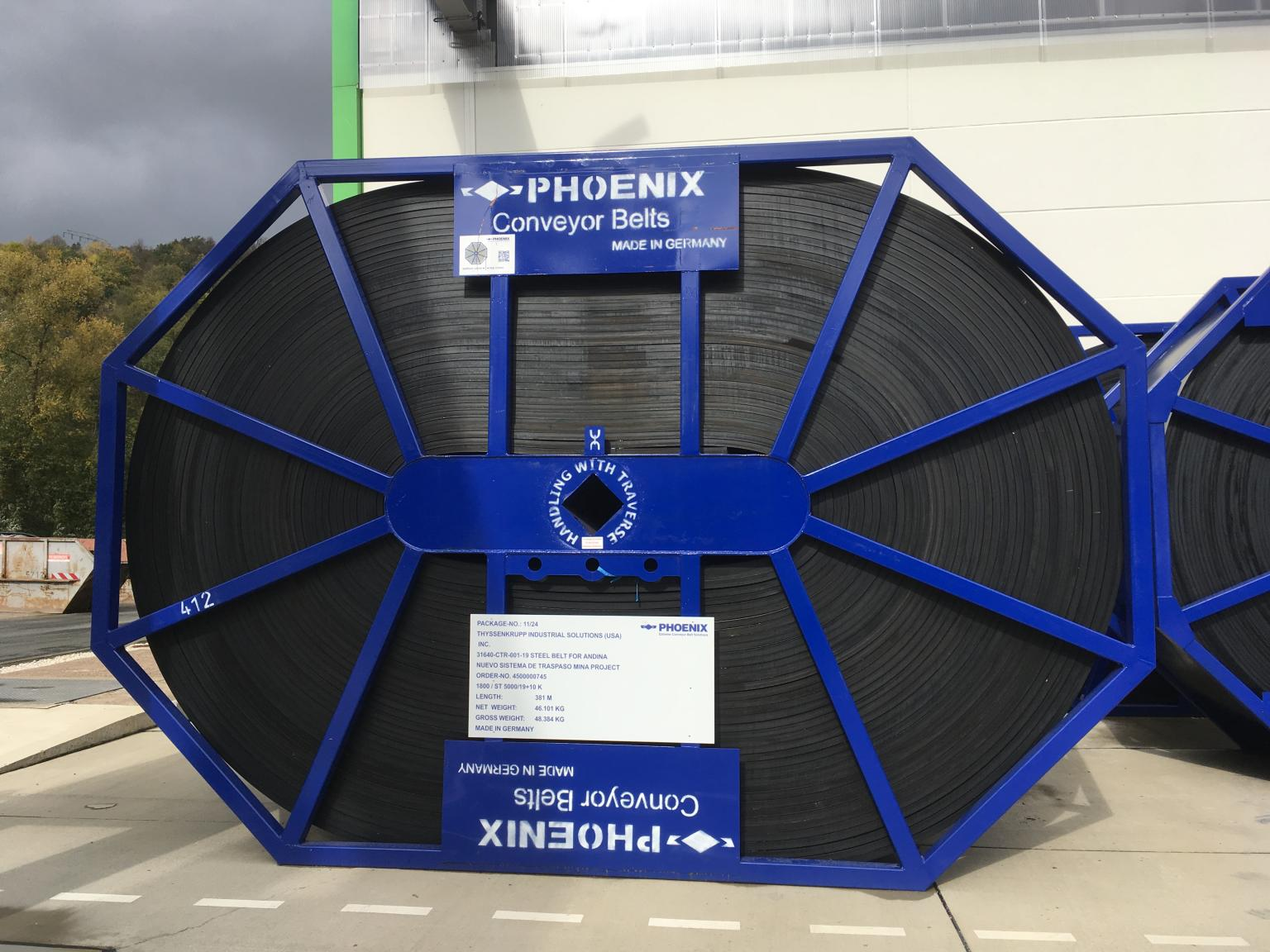 Steel reel with a weight of 48 t in the Phoenix factory Bad Blankenburg, Germany