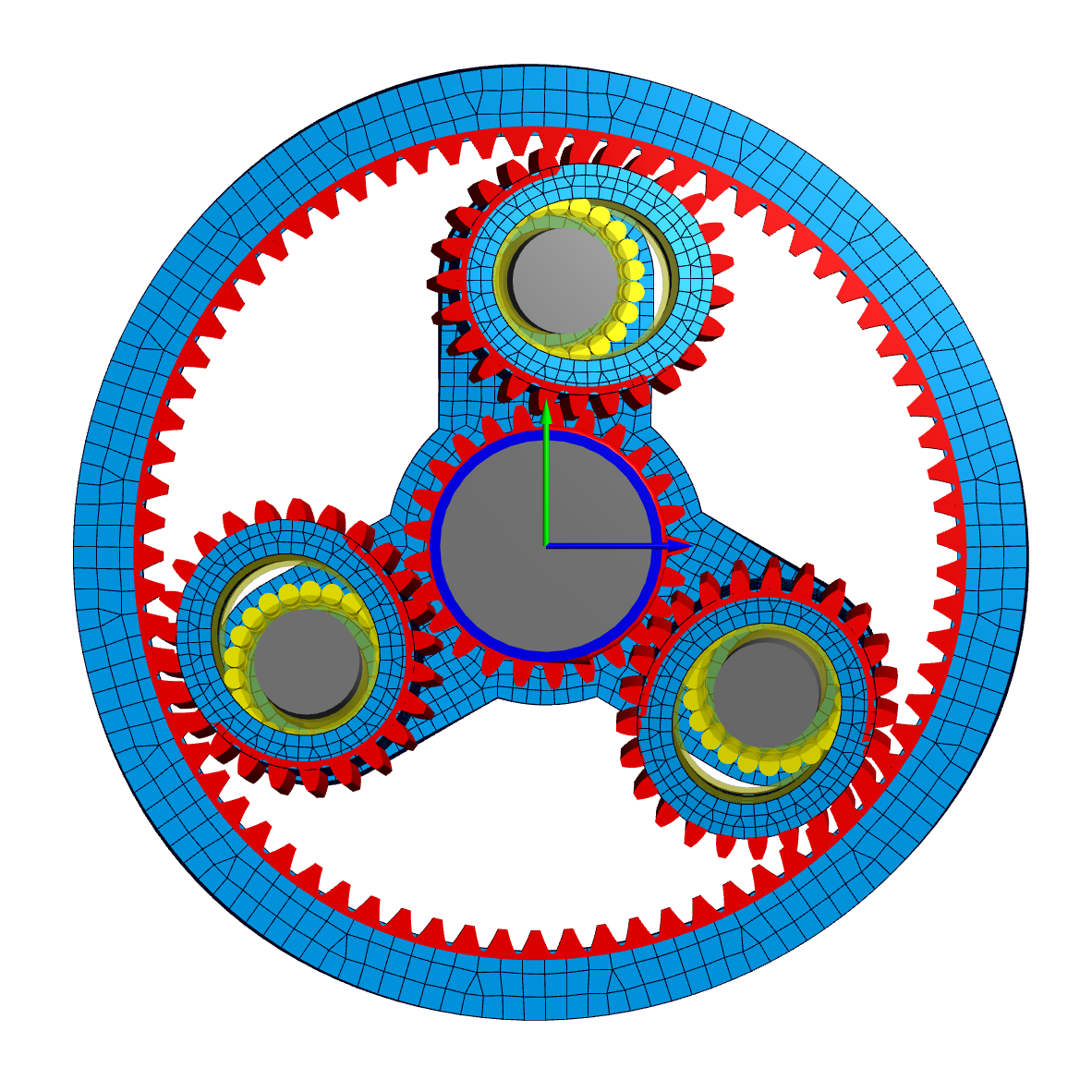 Planetary gear stage with 3D-elastic planet, ring and carrier