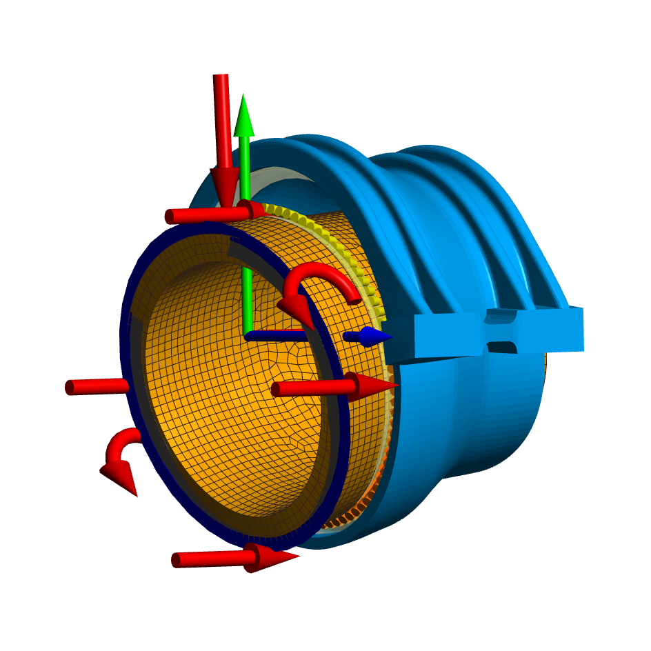 Deformed elastic parts with elastic bearing rings in shaft calculation