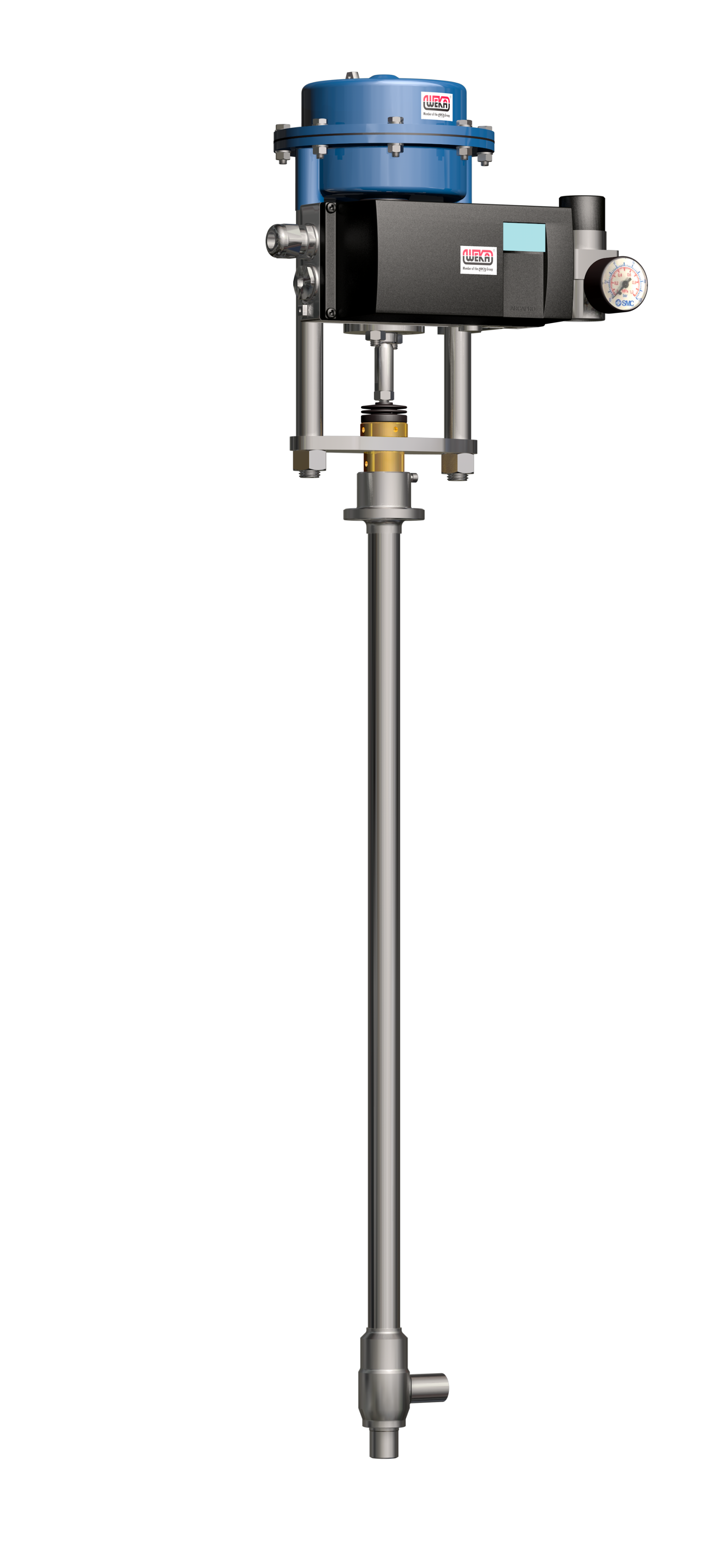 WEKA Cryogenic Control Valve with pneumatic actuator and ARCAPRO positioner