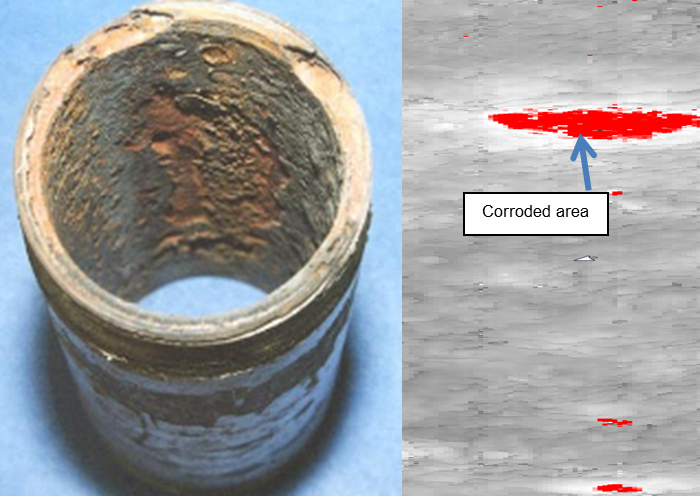 Figure 2. UT helps to visualize corroded areas of a pipeline.