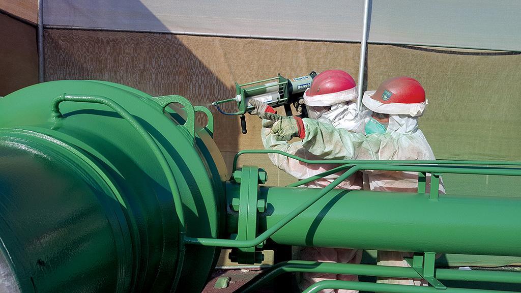 Protal 7200™ liquid epoxy coating applied to gas block valve