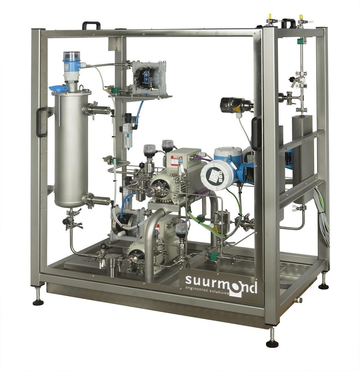 suurDOS® unit for dosing and mixing two component adhesive with dosing and membrane pumps, flow meter and static mixer for guaranteed quality