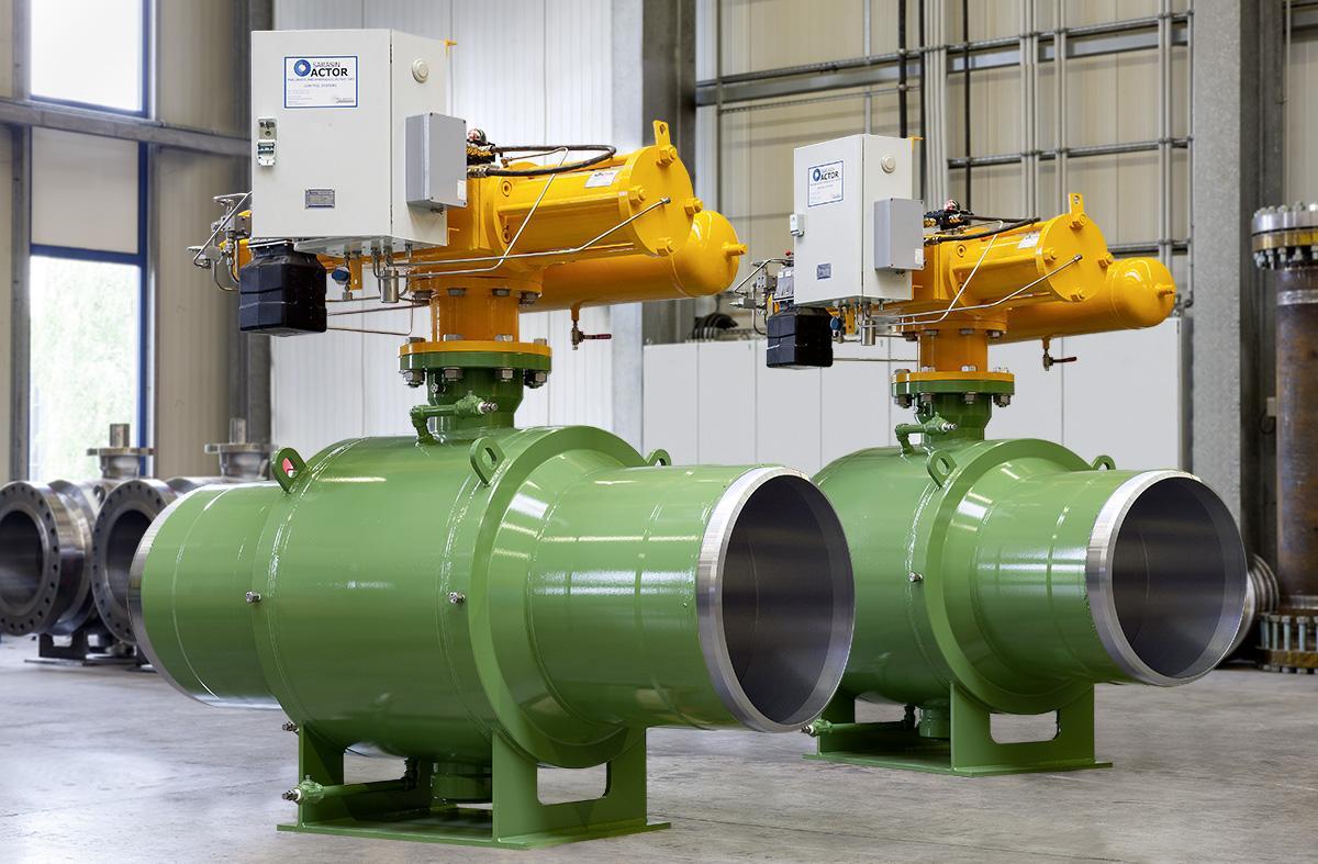 Fully welded ball valves for gas