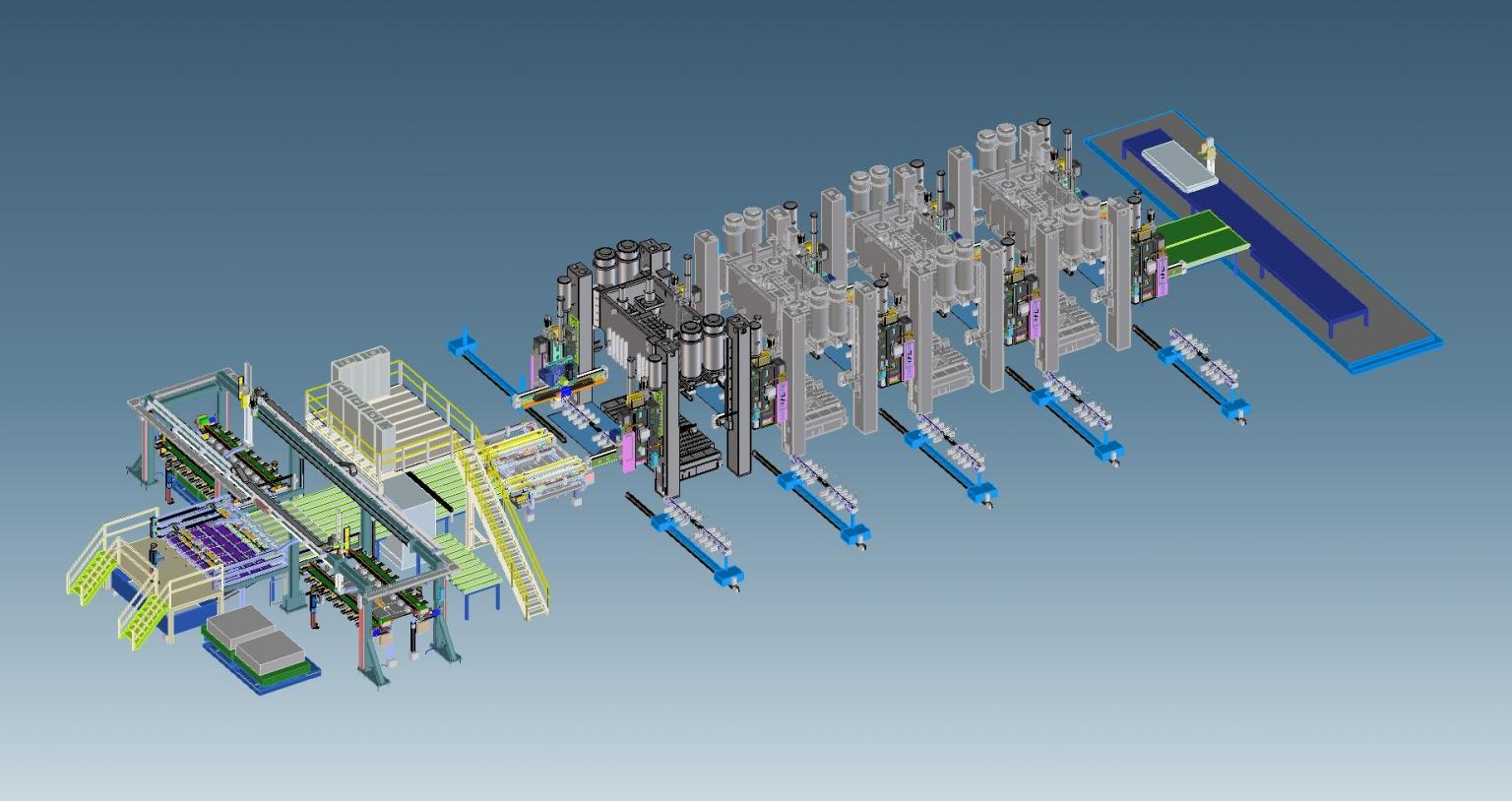 Strothmann equipped the high-speed tandem line with a comprehensive automatic handling, die change and tooling change system