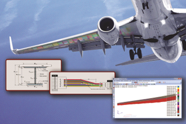 The wing box structure of a commercial aircraft is illustrated with FE sizing zones. HyperSizer software will size the stiffened wing cover to obtain optimum stiffener cross sections and detailed composite ply lay-up schedules