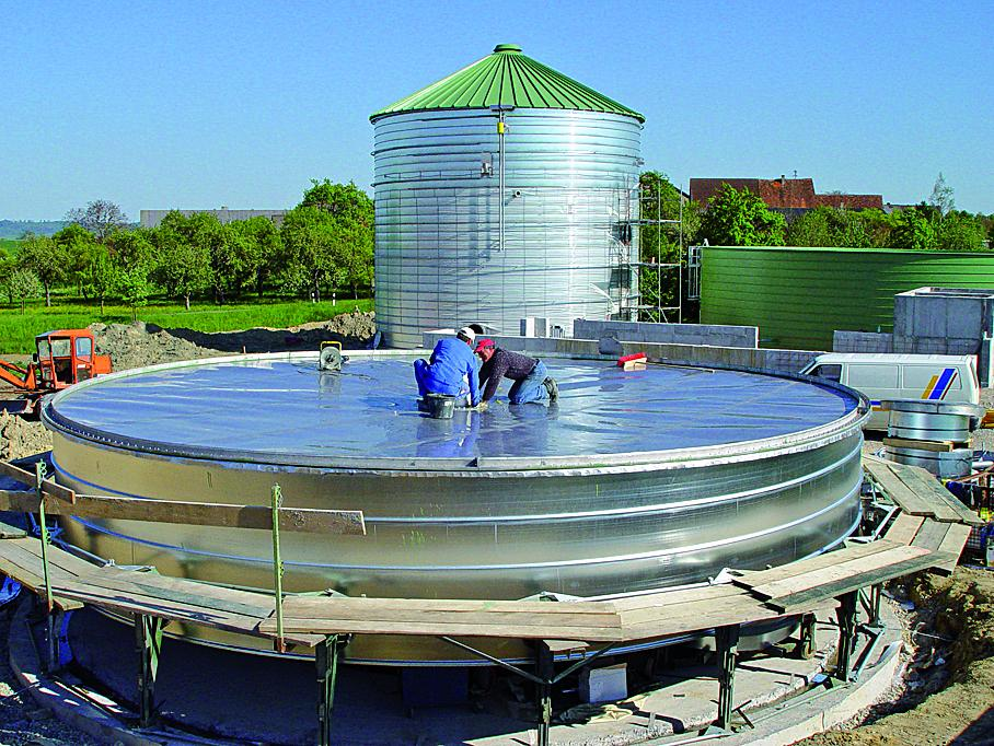 Lipp Universal Digester stainless steel membrane roof under construction