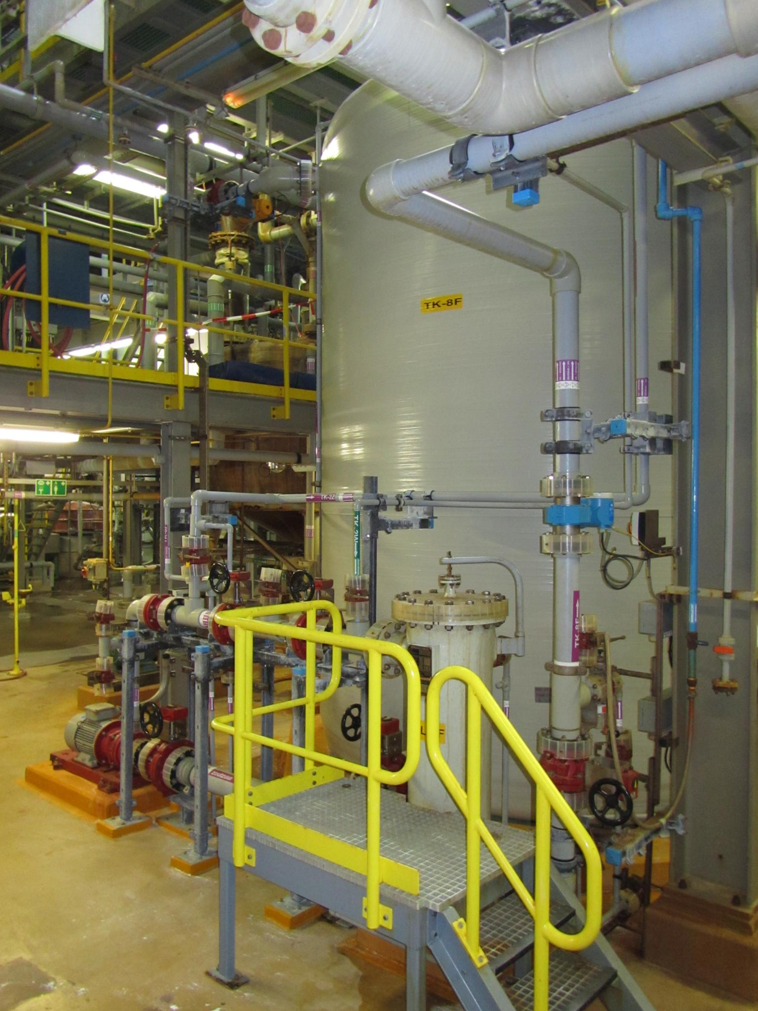 The Lubrizol plant uses Corzan CPVC in numerous processes