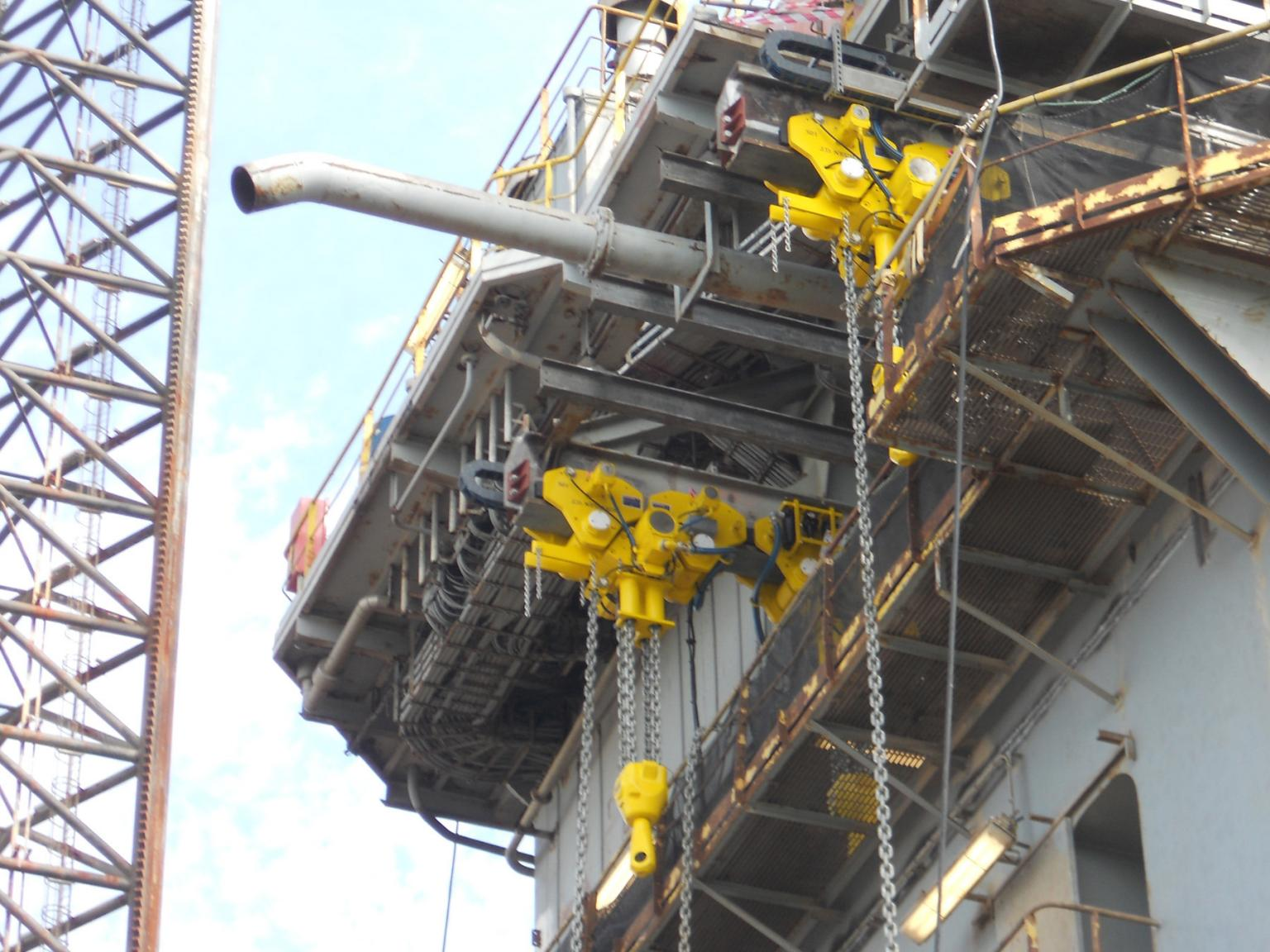 J D Neuhaus BOP handling air operated hoists being mounted on the Maersk offshore rig Guardian