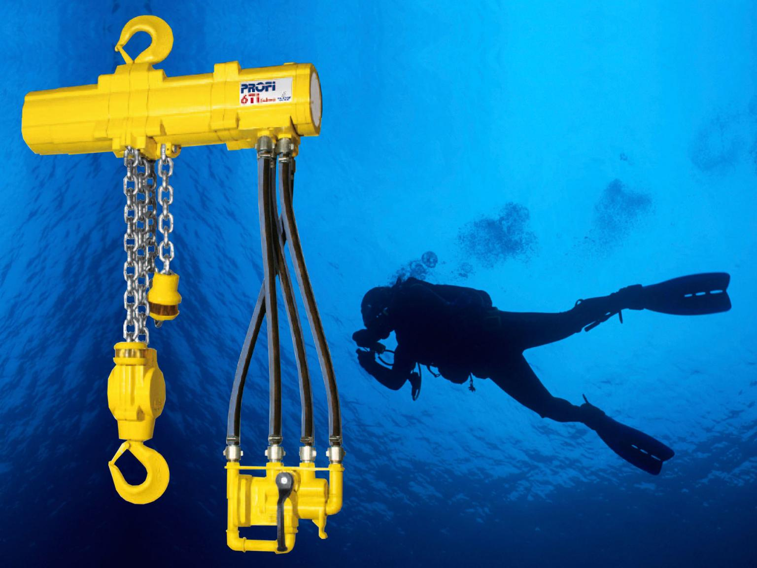 A Profi 6Ti hoist from the J D Neuhaus range, purpose designed for subsea operation and shown equipped with diver friendly control valve