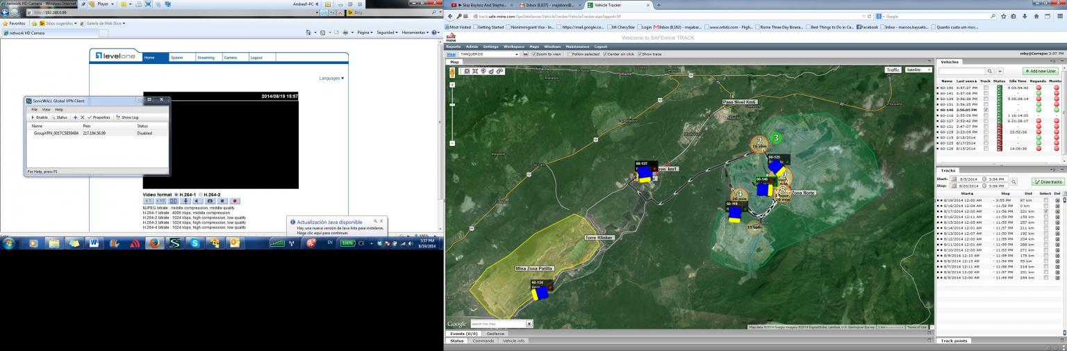 SAFEmine Track data showing water truck locations and paths on a map view