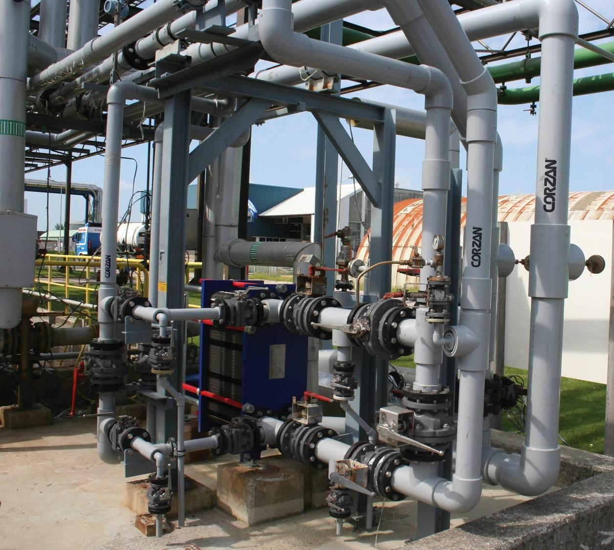 Due to its resilience, CPVC can also be used on pipes outside the plant building