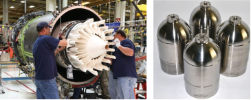 Ceramic fibres used in a CMC for a jet engine (left) and in a MMC pressure vessel (right). (Source: General Electric and TISICS)