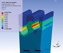 Finite element analysis of a blade identified maximum stress levels at the operating speed
