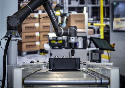 This collaborative robot is picking parts