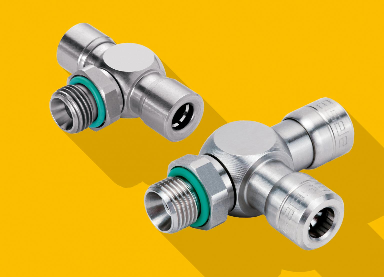 Eisele's durable and hygienic stainless steel push-in connectors that are suitable for use in compressed air systems for the food processing industry