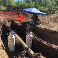 Nitrogen freezes pollution-filled pipe