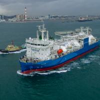 Huge LNG supply ship leaves port
